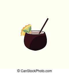Exotic cocktail in coconut - tropical drink decorated with fruit slice and straw isolated on white background.
