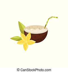Exotic coconut cocktail with plumeria flower vector Illustration on a white background