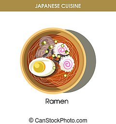 Exotic delicious Ramen dish with egg from Japanese cuisine...