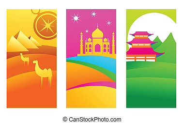 Three tourist backgrounds with exotic travel destinations