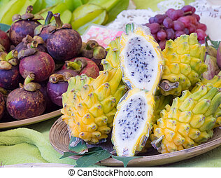 Exotic dragonfruits at the market