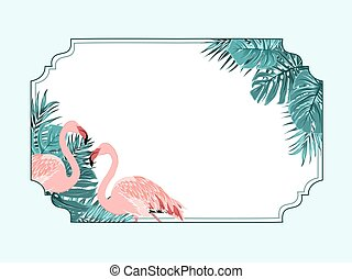 flamingo beak template - tropical rainforest flamingo vertical colorful border