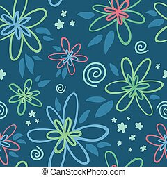 Exotic floral seamless pattern on blue background