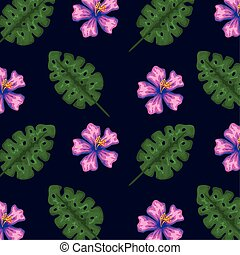 exotic flowers with tropical leaves background