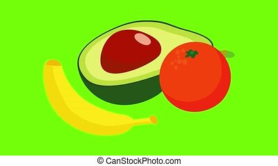 Exotic food icon animation cartoon best object on green screen background