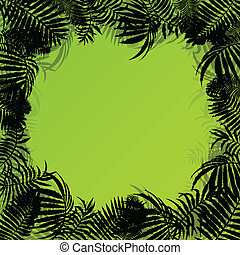 Exotic forest jungle leaves, grass and herbs wild untamed...