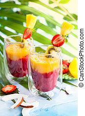 Exotic fruit smoothie - Two glasses of exotic fruit smoothie