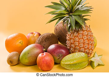 fruit still life - Exotic fruit still life: pineapple,...
