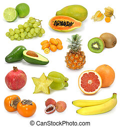 exotic fruits collection on white