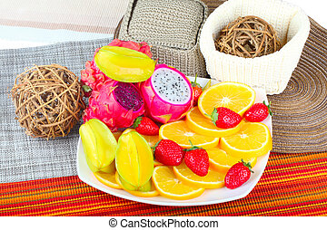 Exotic Fruits - Exotic Fruit Dish with Dragon Fruit,...