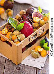 Exotic fruits in a crate