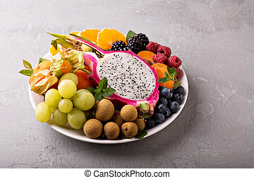 Exotic fruits on a tray - Exotic tropical fruits with dragon...