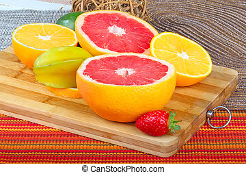 Exotic Fruits - Exotic Fruit on wooden board....