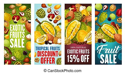 Exotic fruits sale. Durian, pomelo, quince, ackee - Exotic...