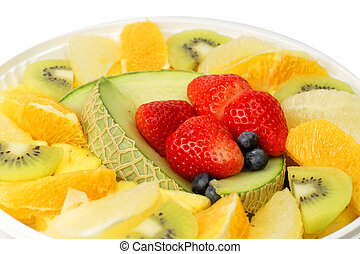 Extreme close-up image of a plate with assorted exotic fruits.