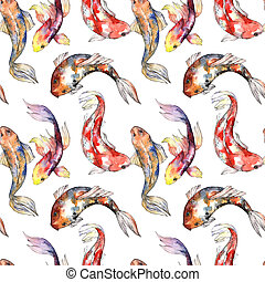 Exotic goldfish wild fish pattern in a watercolor style.