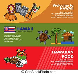 Exotic Hawaii travel destination promotional horizontal...
