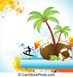 illustration of coconut with palm tree and surfer in sea