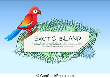 Exotic Island Poster Parrot Vector Illustration