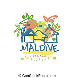 Exotic island summer vacation Maldive travel logo