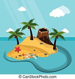 exotic island volcano sand starfish lifebuoy sand palm