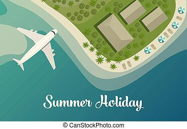 Exotic island with beach and bungalow, airplane