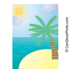 Exotic island with palm tree, vector illustration