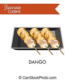 Exotic Japanese dango on wooden sticks in square plate