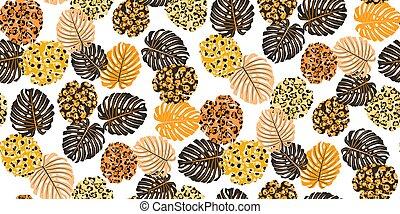 Exotic jungle botanical plant seamless pattern