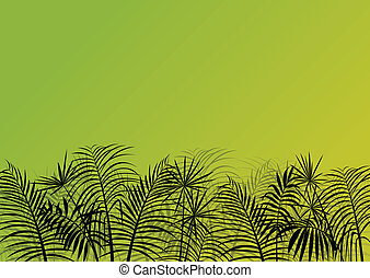 Exotic jungle forest plants, leafs and grass detailed silhouette landscape illustration background vector for poster