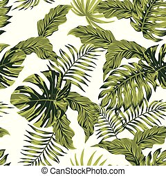 jungle tropical leaves autumn color seamless pattern