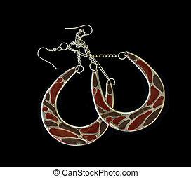 Exotic Large Pierced Earrings On Black Background