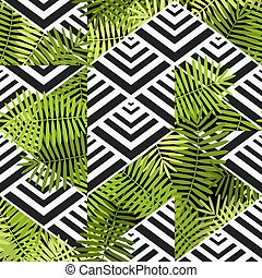 exotic leaves on geometric background. patchwork seamless pattern