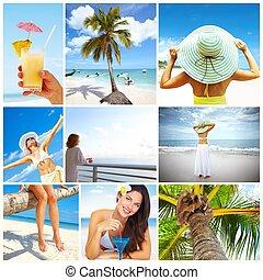 Beautiful woman in bikini relaxing on the plage. Exotic resort.