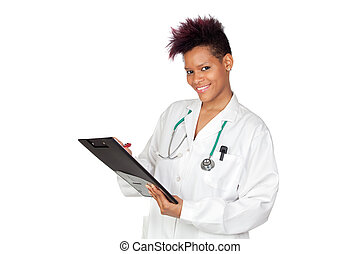 Exotic medical girl with clipboard