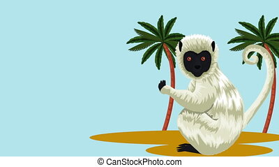 exotic monkey in tropical animation - exotic monkey in...