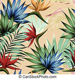 Exotic multicolor tropical jungle seamless beige background