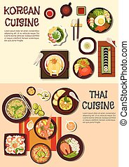 Exotic oriental dishes of korean and thai cuisine - Exotic...