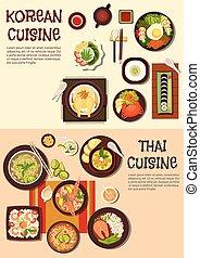 Exotic oriental dishes of korean and thai cuisine - Exotic...