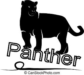 Exotic panther. Silhouette logo on a white background.