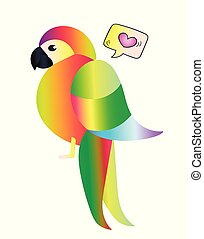 Exotic parrot on isolated white background. Vector art animals