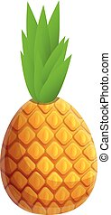 Exotic pineapple icon, cartoon style
