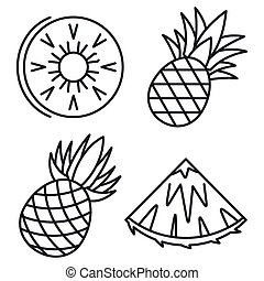 Exotic pineapple icons set, outline style