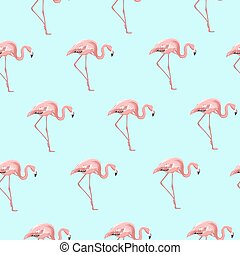 Exotic pink flamingo bird on blue seamless pattern
