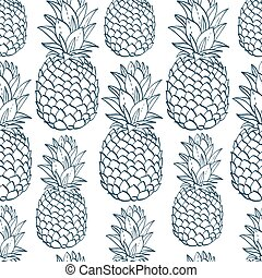 Exotic seamless pattern with silhouettes tropical fruit ...
