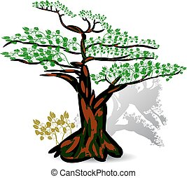 Exotic seasonal tree, with green leaves, on a white background.