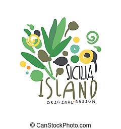 Exotic Sicilia island summer vacation travel logo - Exotic...