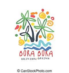 Exotic summer Bora Bora travel logo - Exotic summer Bora...