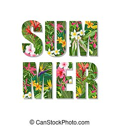 Exotic Summer Design. Tropical Flowers and Leaves Background. Vector. T-shirt Fashion Graphic.
