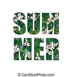 Exotic Summer Design. Tropical Orchid Flowers and Leaves Background. Vector. T-shirt Fashion Graphic.